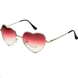 🆕️ Rose Red Ombre Heart Shaped Sunglasses 😎